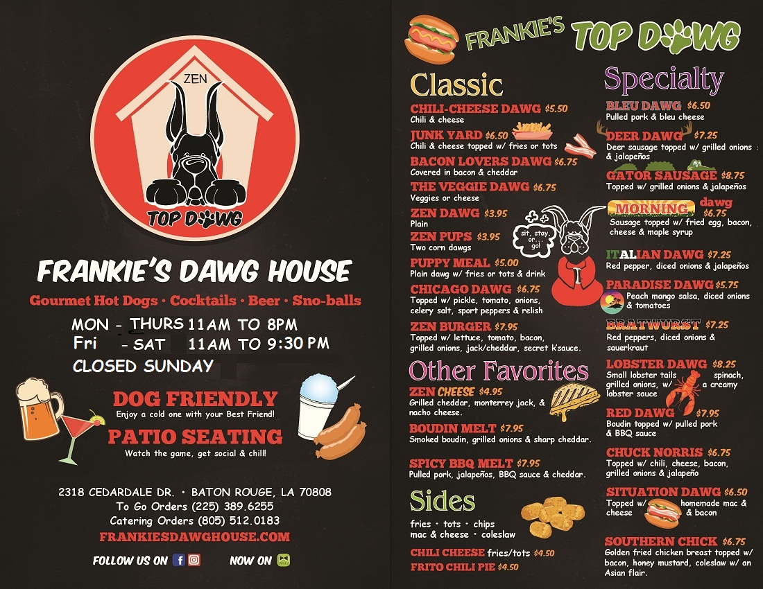 Frankies Dawg House Menu